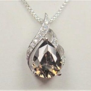 STERLING SILVER SMOKE STONE ETERNAL FLAME NECKLACE
